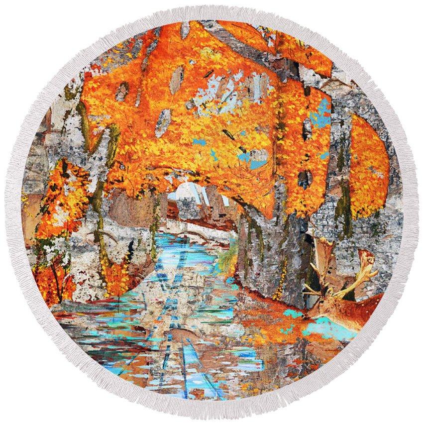 Winter Round Beach Towel featuring the painting Autumn Deer Birch Background by Ken Figurski