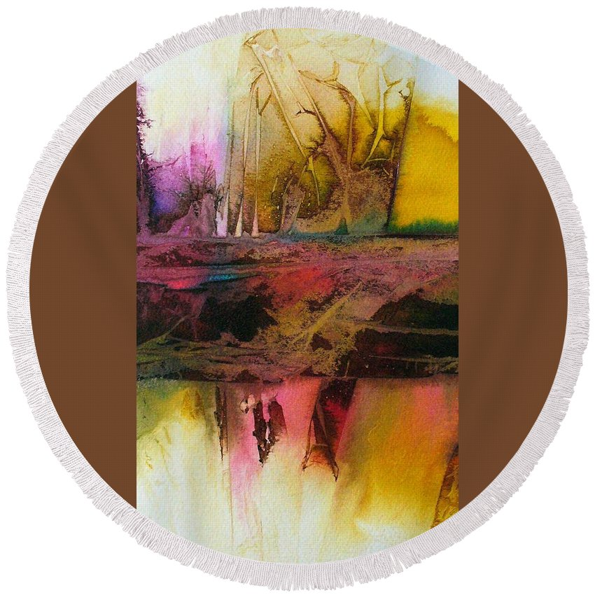 Abstract Art Round Beach Towel featuring the painting Autumn Dream by Mary Sullivan