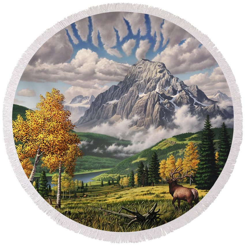 Elk Round Beach Towel featuring the painting Autumn Echos by Jerry LoFaro