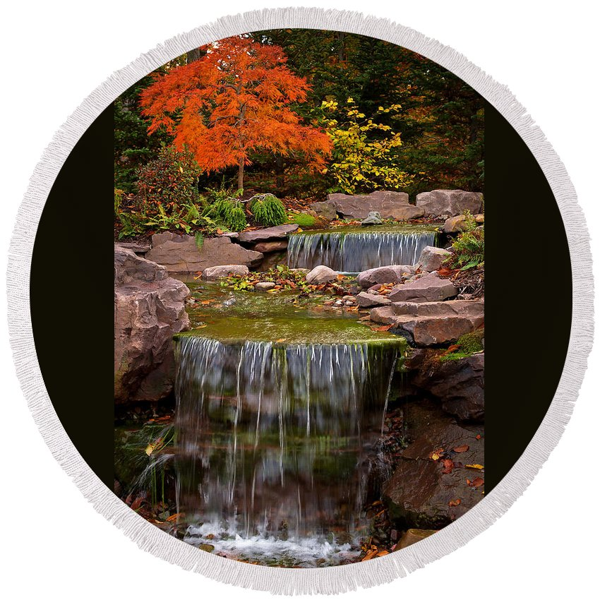 Nature Round Beach Towel featuring the photograph Autumn Falls by Dorothy Lee