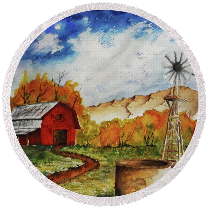 Red Barn Round Beach Towel featuring the painting Autumn Farm by Darrell Mcgahhey