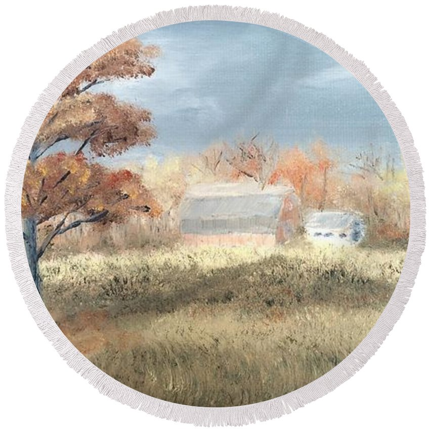 Landscape Round Beach Towel featuring the painting Autumn Farm by J O Huppler