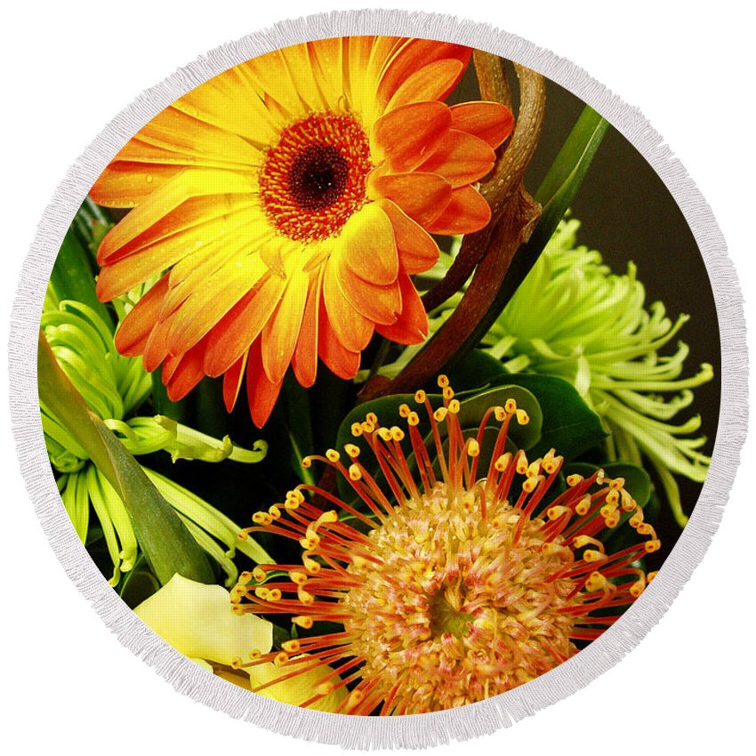 Autumn Round Beach Towel featuring the photograph Autumn Flower Arrangement by Nancy Mueller