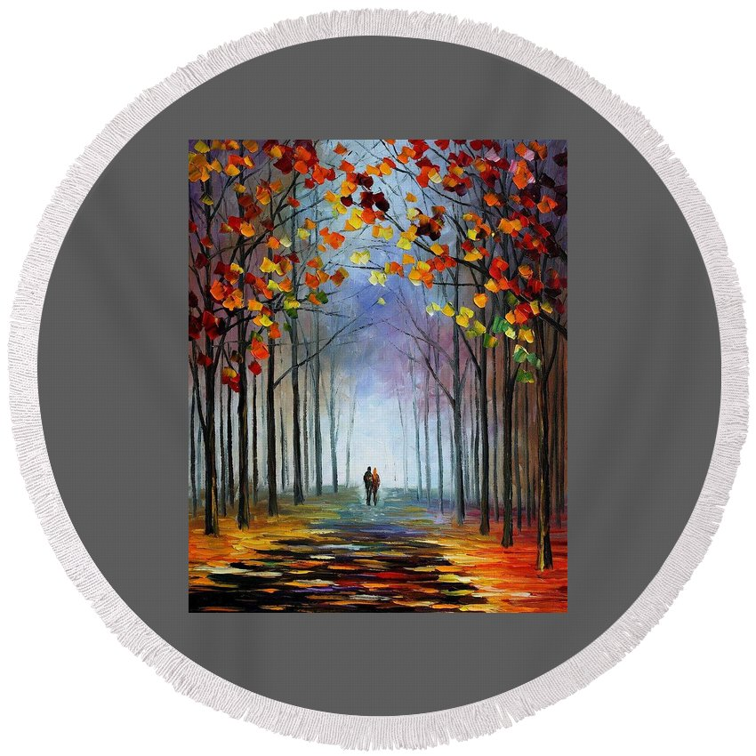 Art Gallery Round Beach Towel featuring the painting Autumn Fog 4 - Palette Knife Oil Painting On Canvas By Leonid Afremov by Leonid Afremov