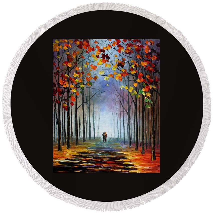 Afremov Round Beach Towel featuring the painting Autumn Fog by Leonid Afremov