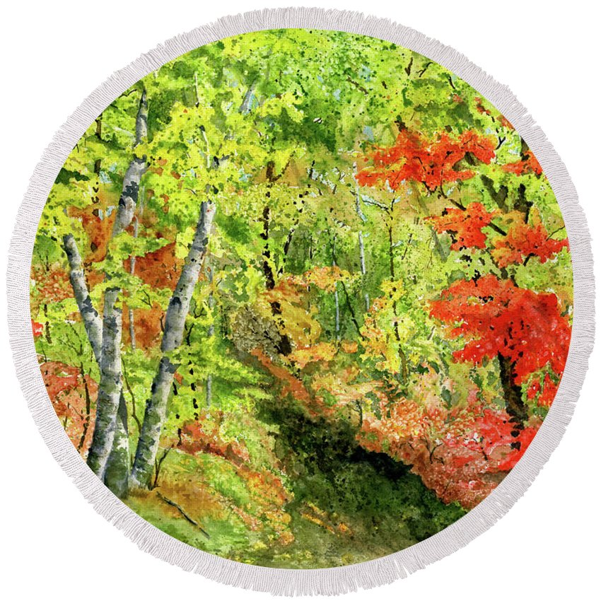 Autumn Round Beach Towel featuring the painting Autumn Fun by Mary Tuomi