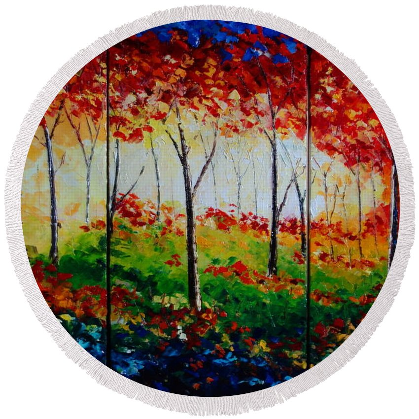 Autum Round Beach Towel featuring the painting Autumn Glade by Valerie Curtiss