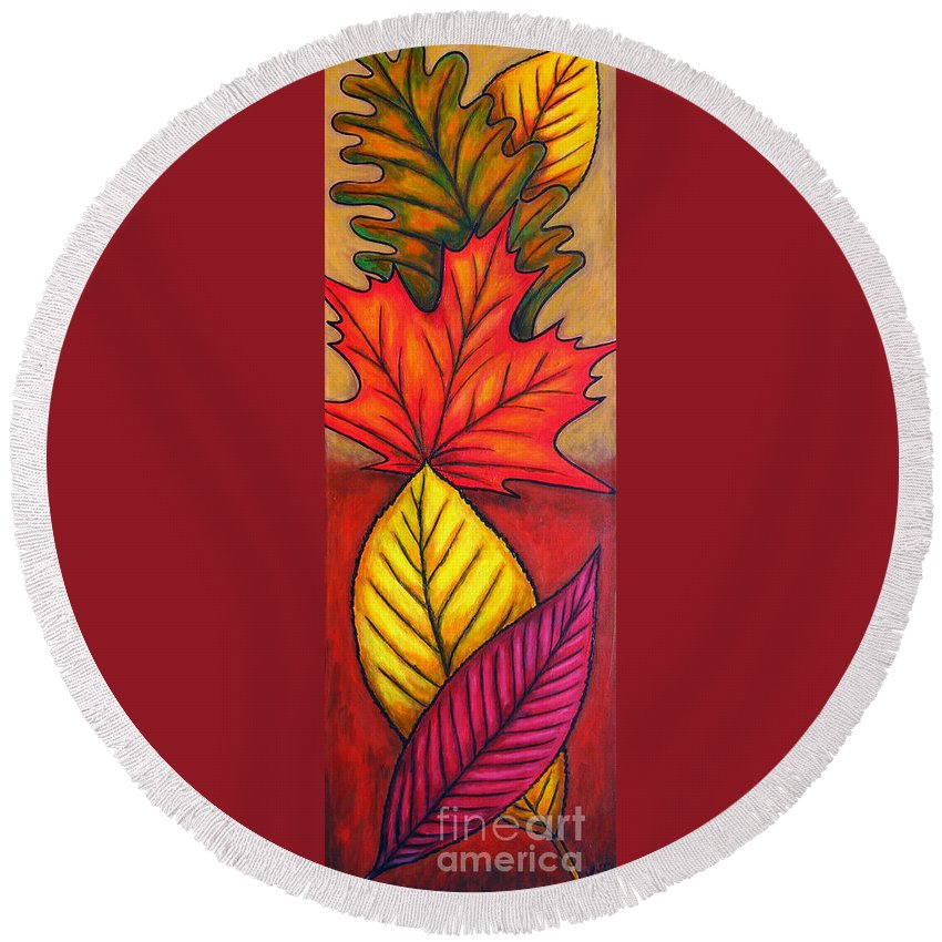 Autumn Round Beach Towel featuring the painting Autumn Glow by Lisa Lorenz