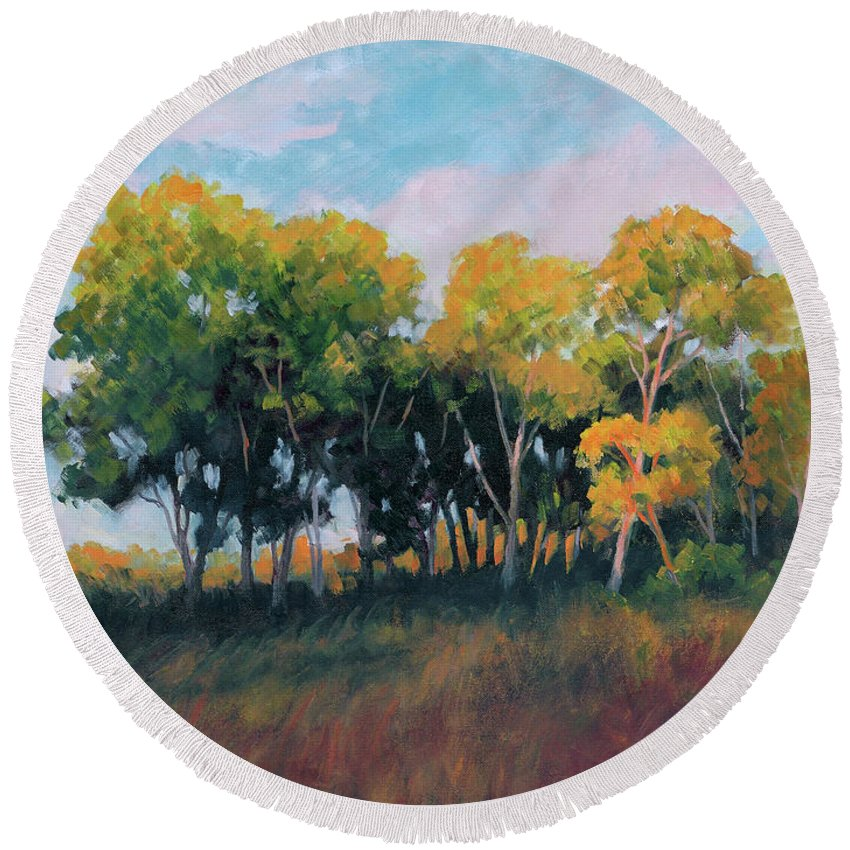 Impressionism Round Beach Towel featuring the painting Autumn Grove by Keith Burgess