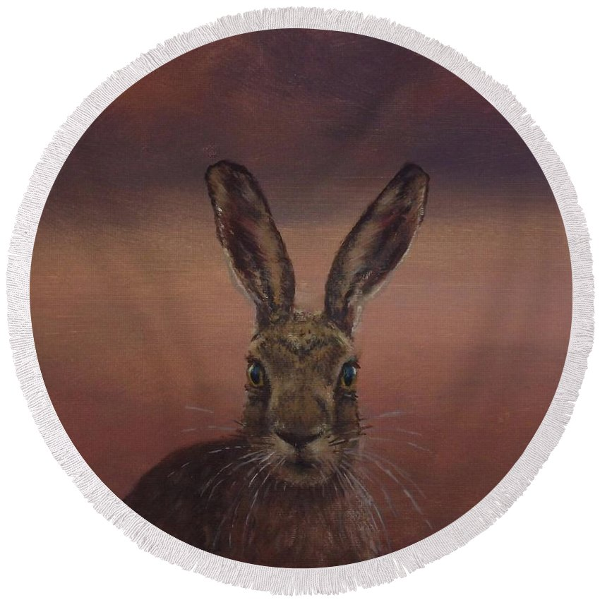 Painting Animal Summer Hare Fauna Acrylic Canvas Realism Impressionism Beauty Wild Wildlife Wilderness Round Beach Towel featuring the painting Autumn Hare by Sean Conlon