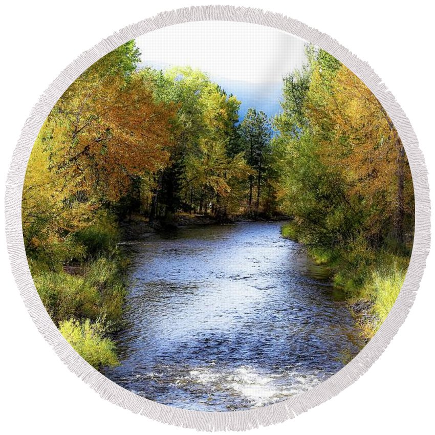 Autumn Round Beach Towel featuring the photograph Autumn Harvest Along The River by Athena Mckinzie