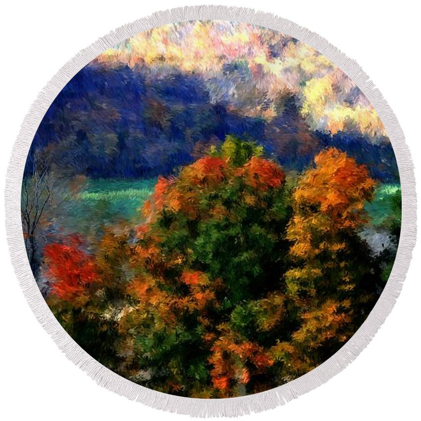 Digital Photograph Round Beach Towel featuring the photograph Autumn Hedgerow by David Lane