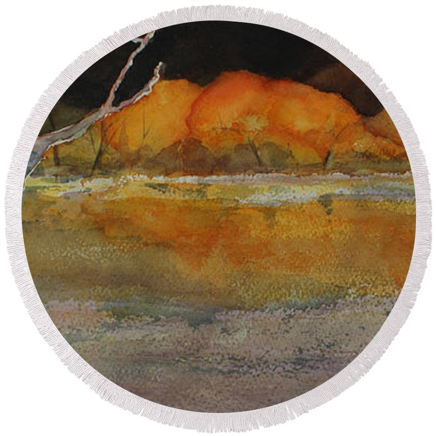 Landscape Round Beach Towel featuring the painting Autumn Hills by Kim Fournier