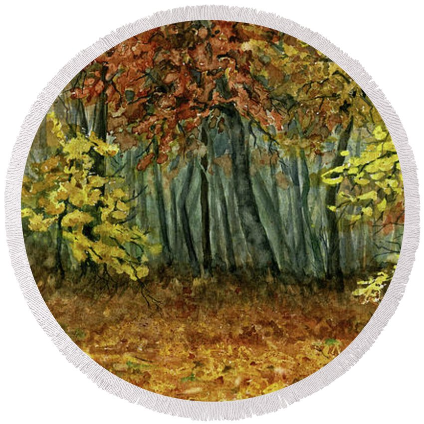 Autumn Round Beach Towel featuring the painting Autumn Hollow by Mary Tuomi