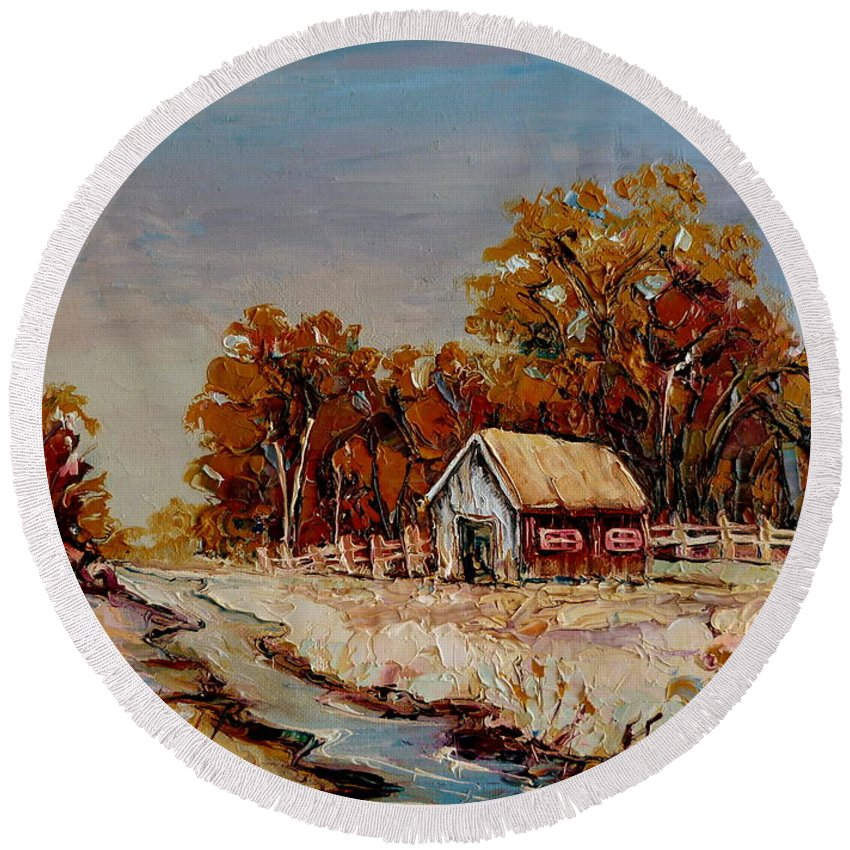 Autumn House By The Stream Round Beach Towel featuring the painting Autumn House By The Stream by Carole Spandau