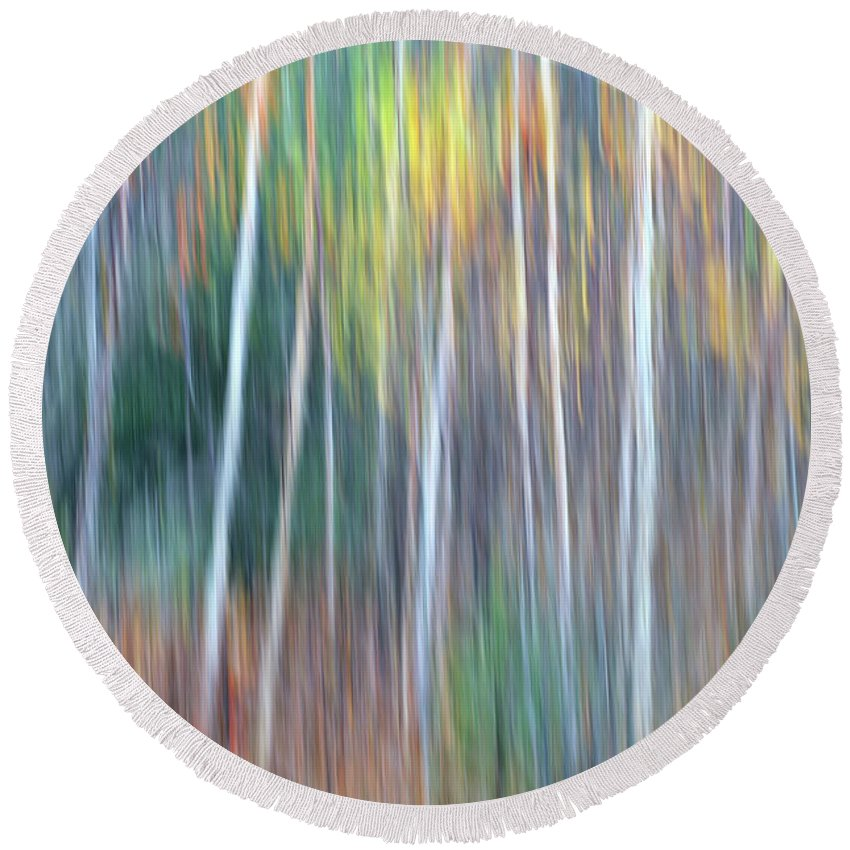 Forest Pastels Form An Autumn Impression Round Beach Towel featuring the photograph Autumn Impression by Bill Morgenstern