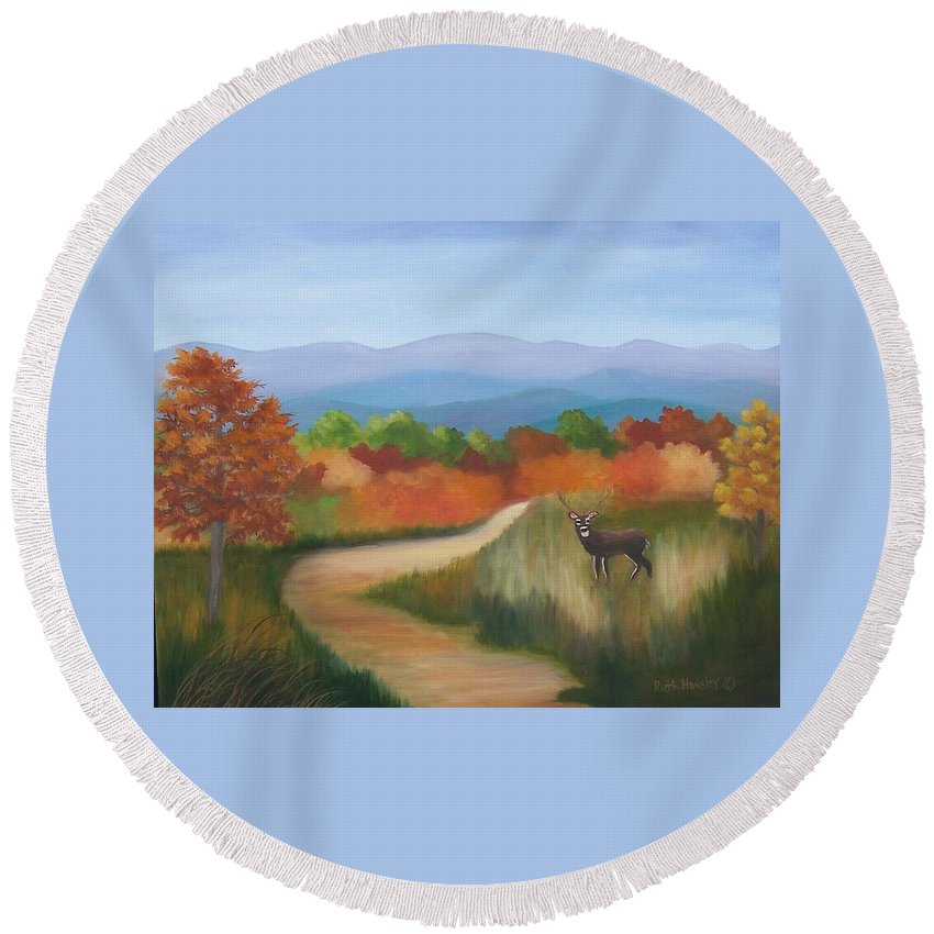 Mountains Round Beach Towel featuring the painting Autumn In Blue Ridge Mountains Virginia by Ruth Housley