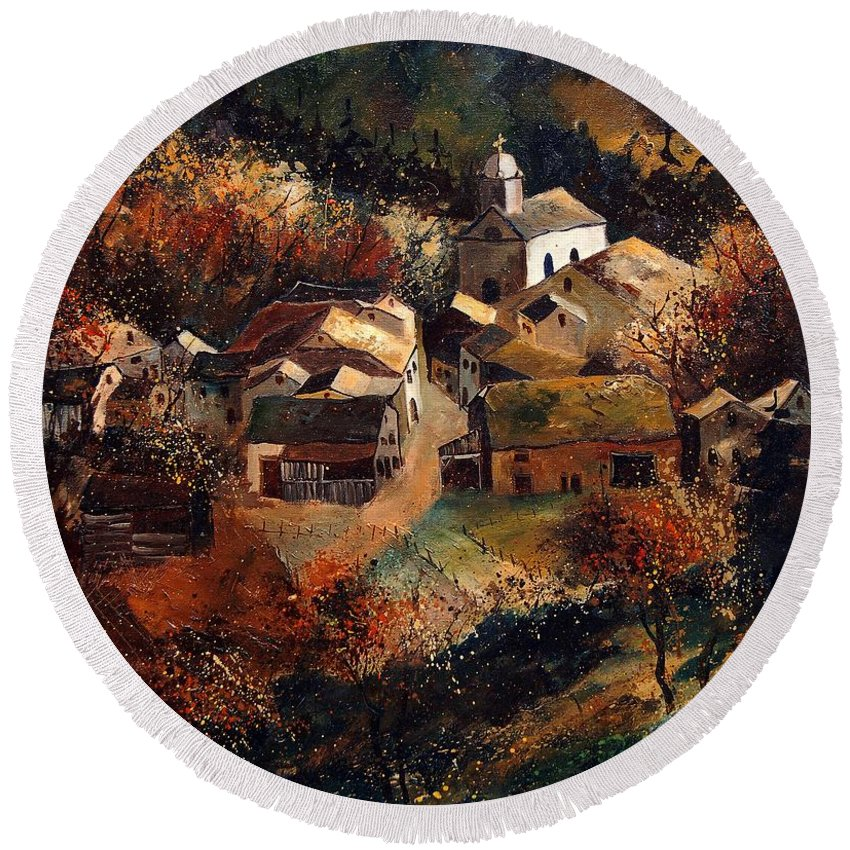 Tree Round Beach Towel featuring the painting Autumn In Frahan by Pol Ledent