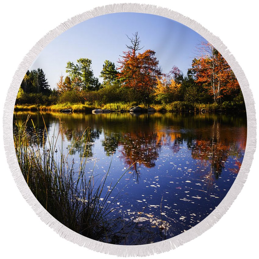 Autumn Round Beach Towel featuring the photograph Autumn In Maine Usa by Vishwanath Bhat