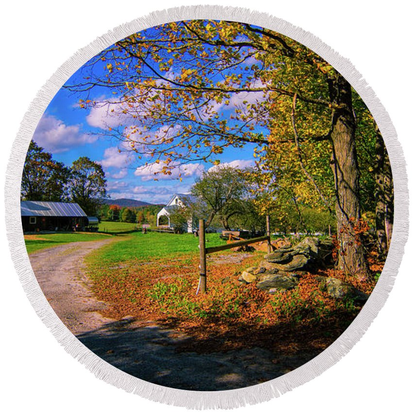 Fall Foliage Round Beach Towel featuring the photograph Autumn In Montpelier by Scenic Vermont Photography