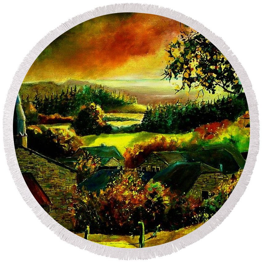 Landscape Round Beach Towel featuring the painting Autumn In Our Village Ardennes by Pol Ledent