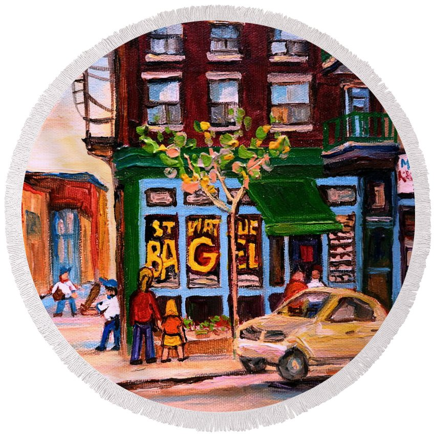 St.viateur Bagel Round Beach Towel featuring the painting Autumn In The City by Carole Spandau