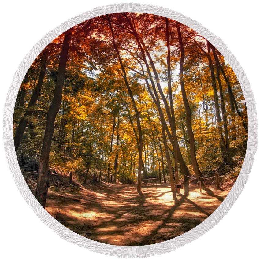 Autumn Round Beach Towel featuring the photograph Autumn In The Dunes by Thomas Woolworth