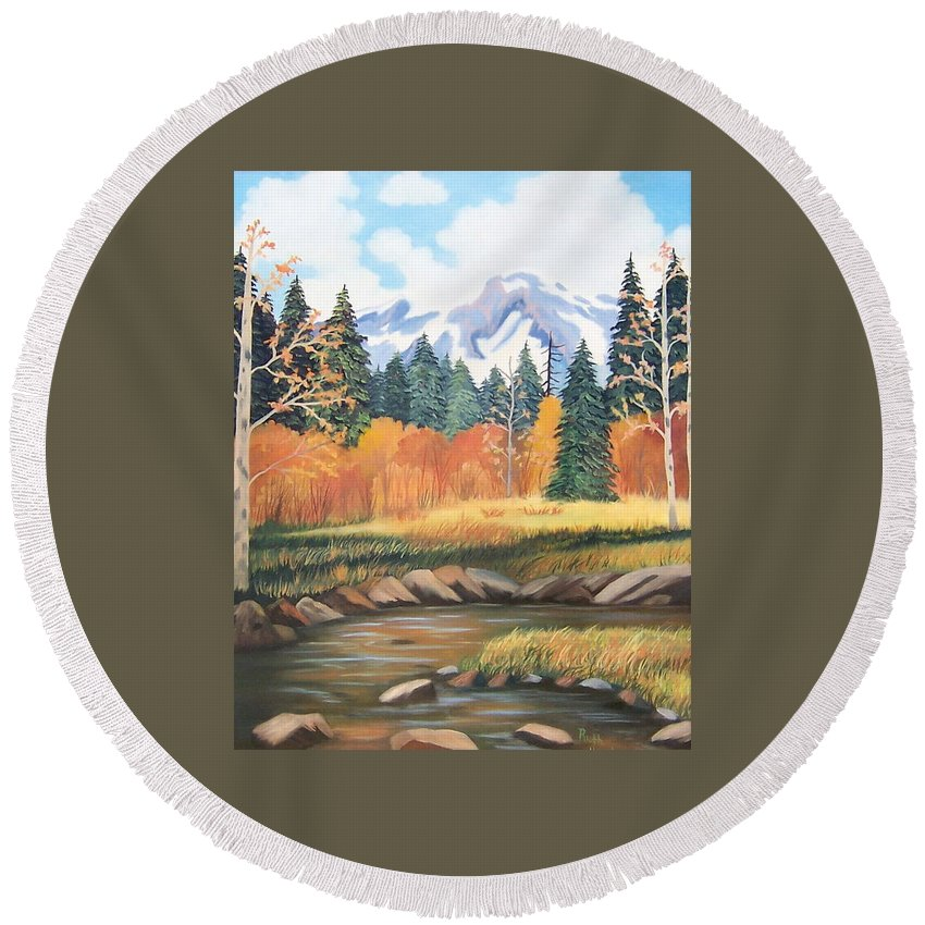 Landscape Round Beach Towel featuring the painting Autumn In The Mountans by Ruth Housley