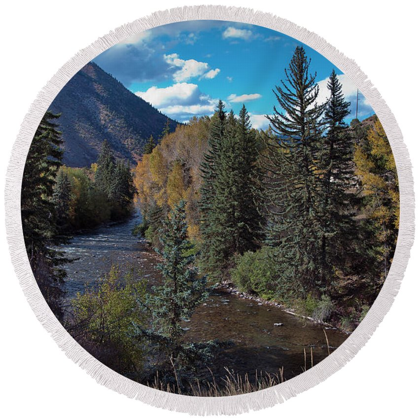 America Round Beach Towel featuring the photograph Autumn In The Rockies by Joan Carroll