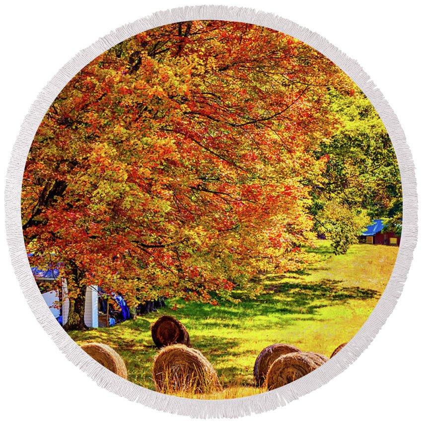Steve Harrington Round Beach Towel featuring the photograph Autumn In West Virginia by Steve Harrington