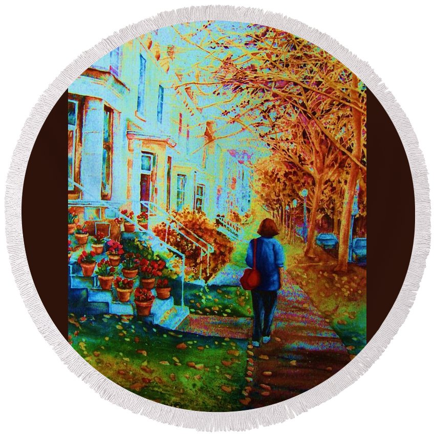 Montreal Round Beach Towel featuring the painting Autumn In Westmount by Carole Spandau