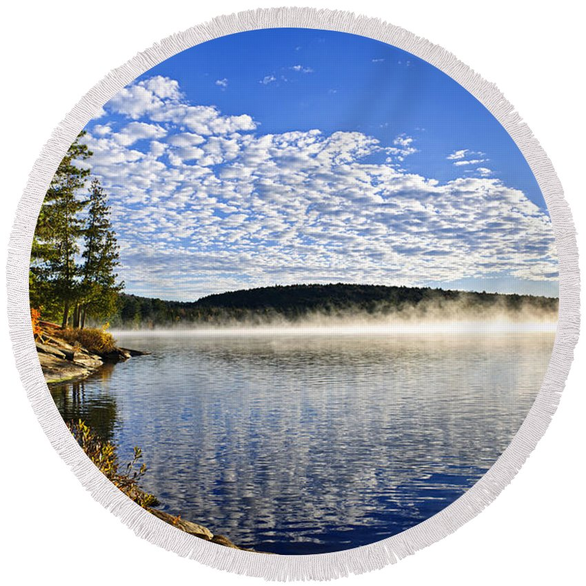 Foggy Round Beach Towel featuring the photograph Autumn Lake Shore With Fog by Elena Elisseeva