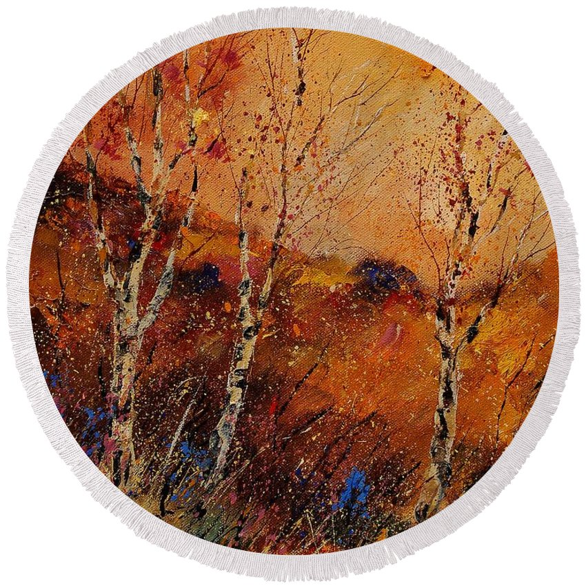 Tree Round Beach Towel featuring the painting Autumn Landscape 45 by Pol Ledent