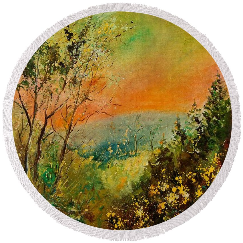 Tree Round Beach Towel featuring the painting Autumn Landscape 5698 by Pol Ledent