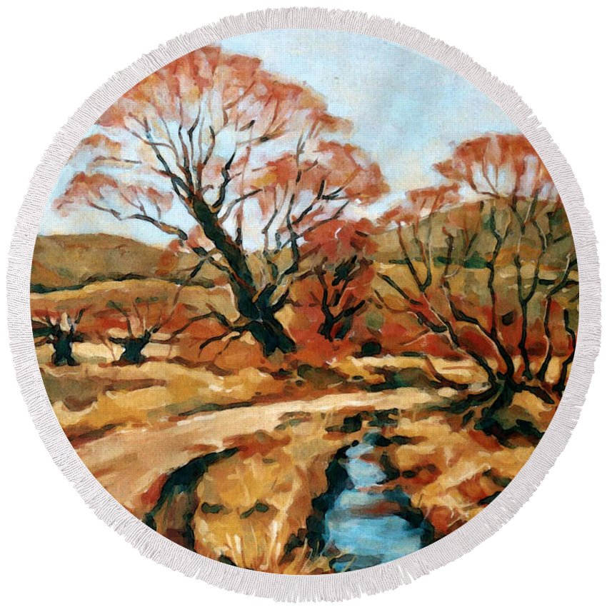 Landscape Round Beach Towel featuring the painting Autumn Landscape by Iliyan Bozhanov