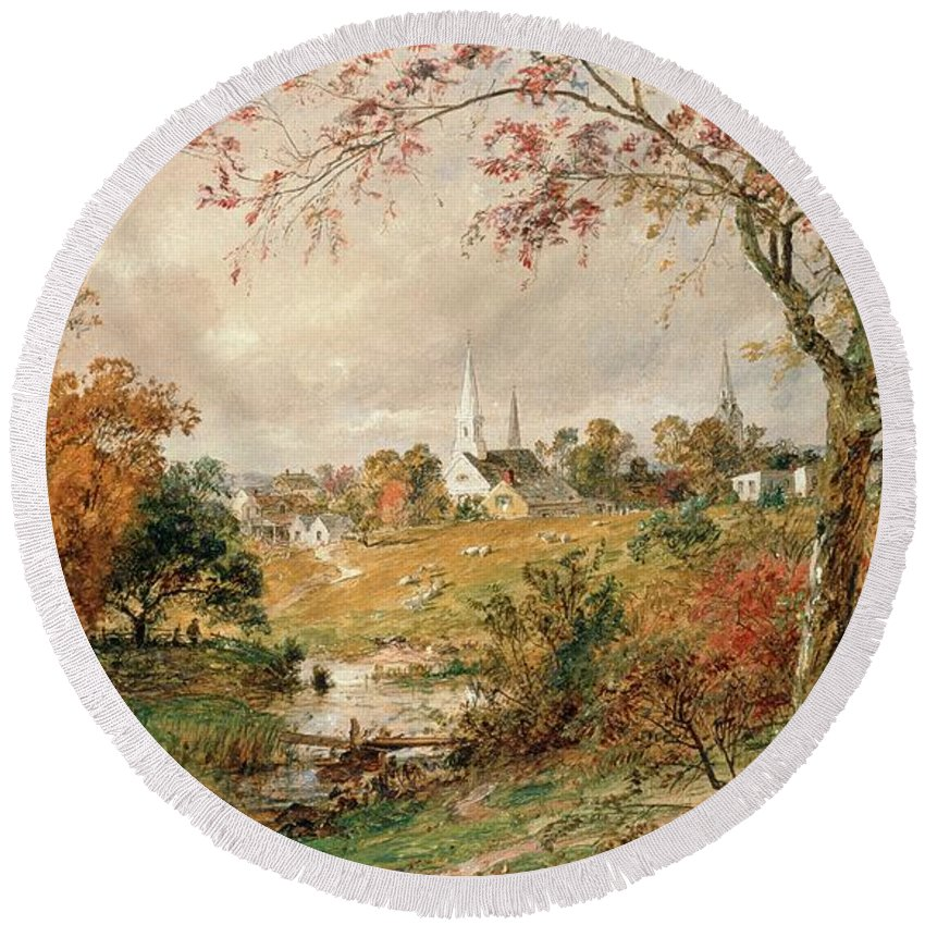 Autumn Landscape Round Beach Towel featuring the painting Autumn Landscape by Jasper Francis Cropsey