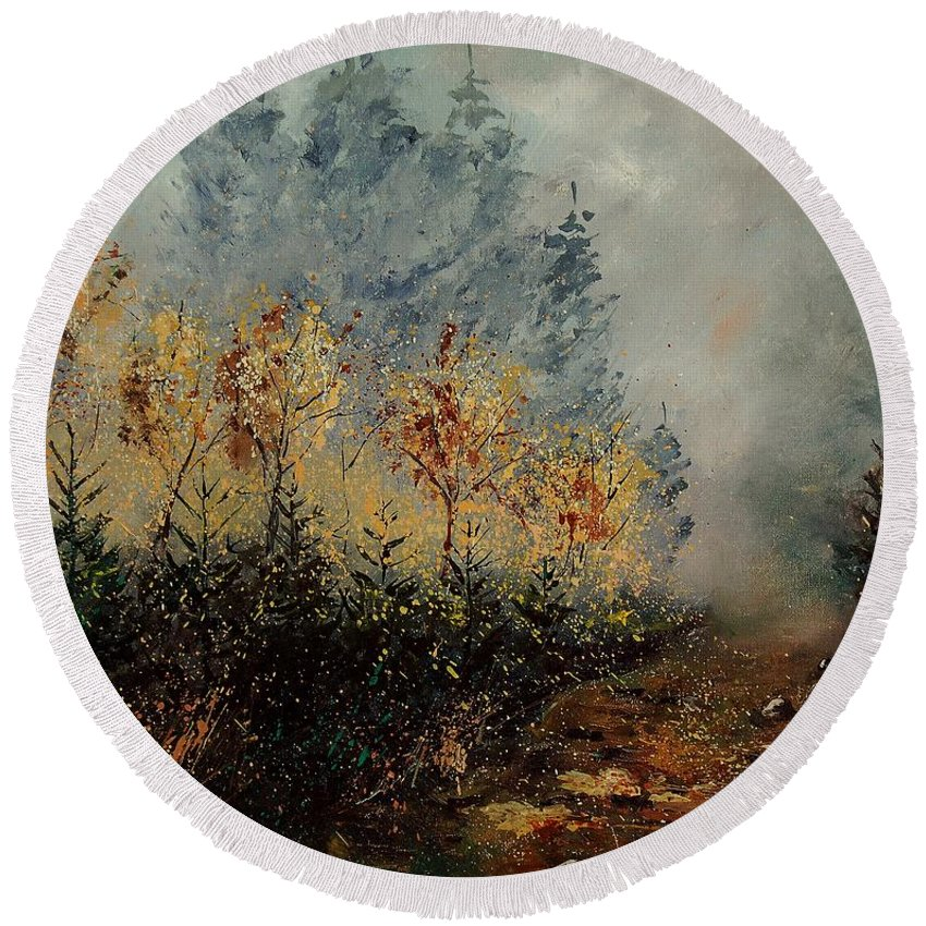 Tree Round Beach Towel featuring the painting Autumn Landscape by Pol Ledent