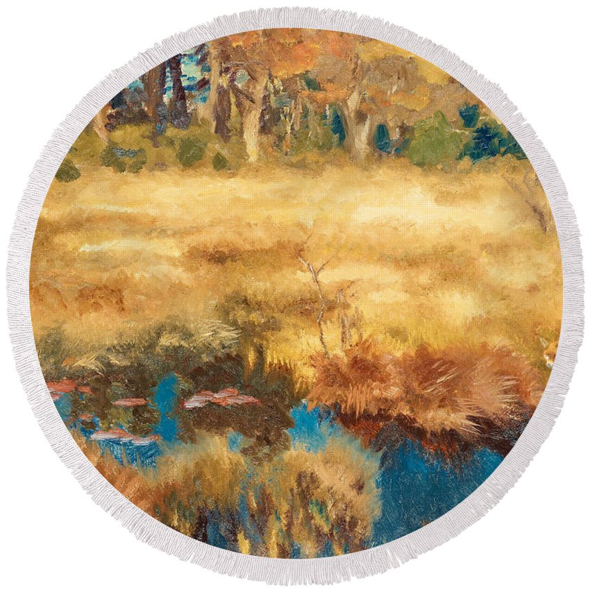 Swedish Art Round Beach Towel featuring the painting Autumn Landscape With Fox by Bruno Liljefors