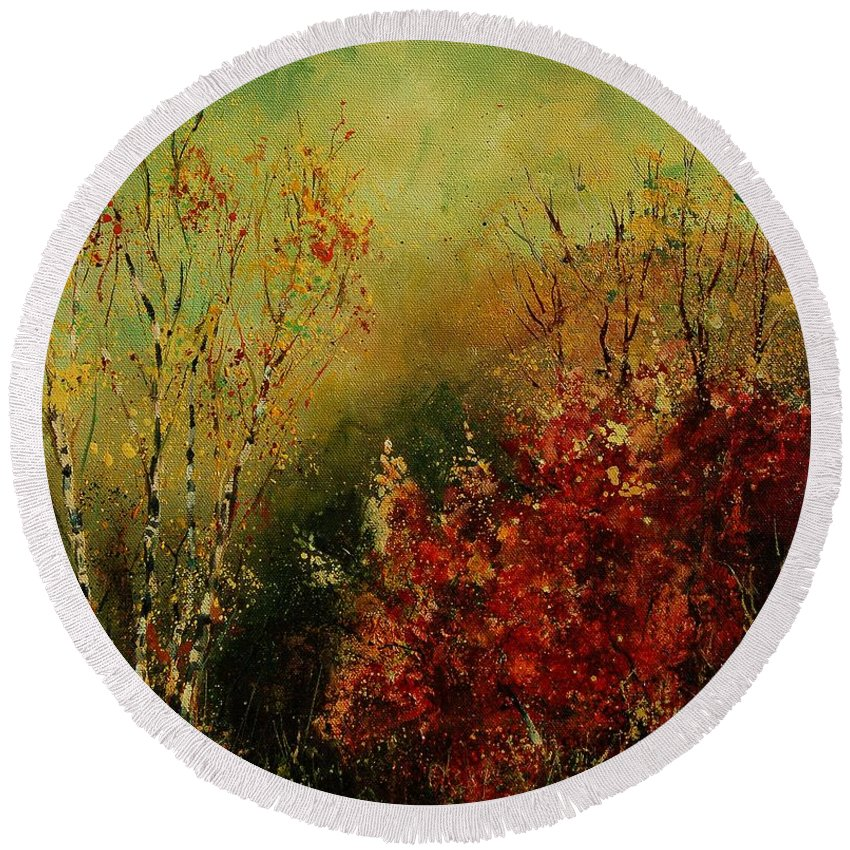 Tree Round Beach Towel featuring the painting Autumn Lanfscape by Pol Ledent