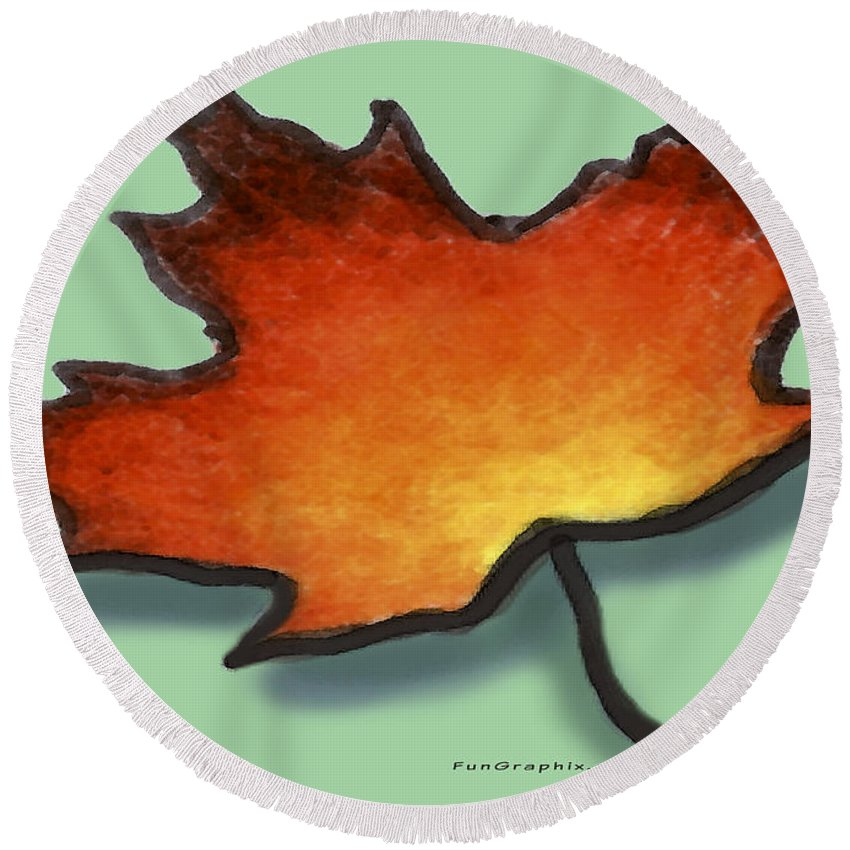 Leaf Round Beach Towel featuring the greeting card Autumn Leaf by Kevin Middleton