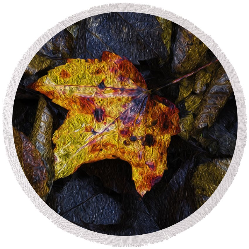 Leaf Round Beach Towel featuring the photograph Autumn Leaf On Ground by Chester Wiker