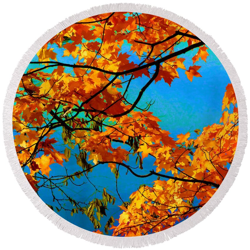 Autumn Round Beach Towel featuring the painting Autumn Leaves 7 by Jeelan Clark