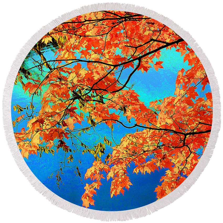 Autumn Round Beach Towel featuring the painting Autumn Leaves 8 by Jeelan Clark
