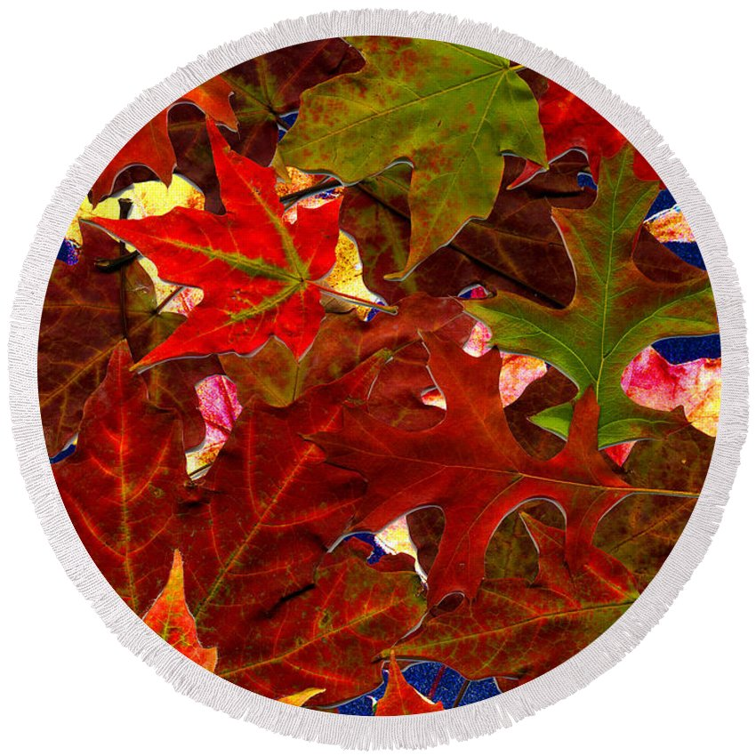 Collage Round Beach Towel featuring the photograph Autumn Leaves by Nancy Mueller
