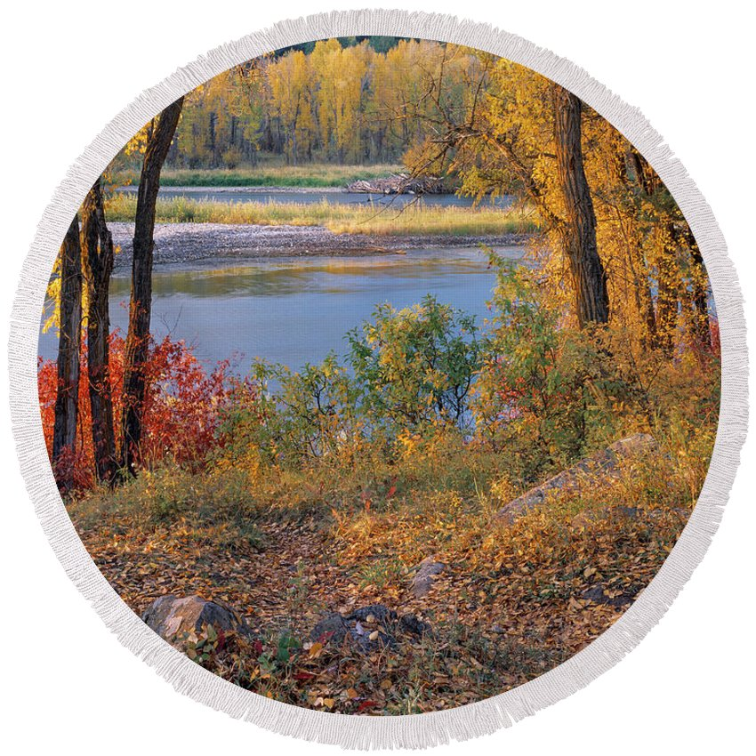 Appealing Round Beach Towel featuring the photograph Autumn by Leland D Howard