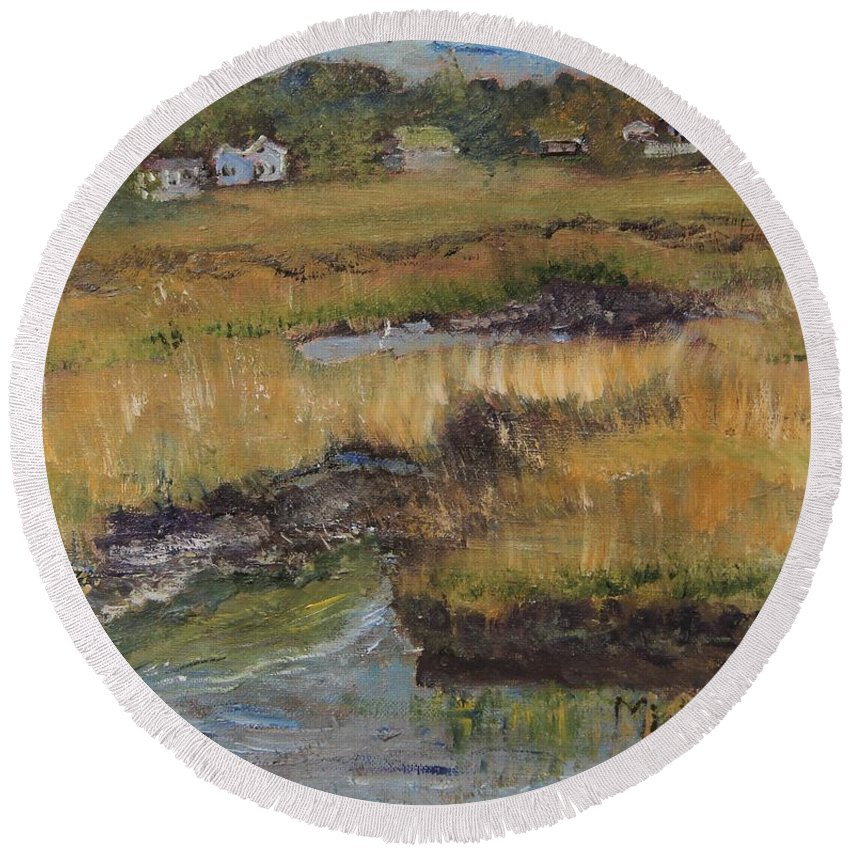 Cape Cod Round Beach Towel featuring the painting Autumn Marsh by Michael Helfen