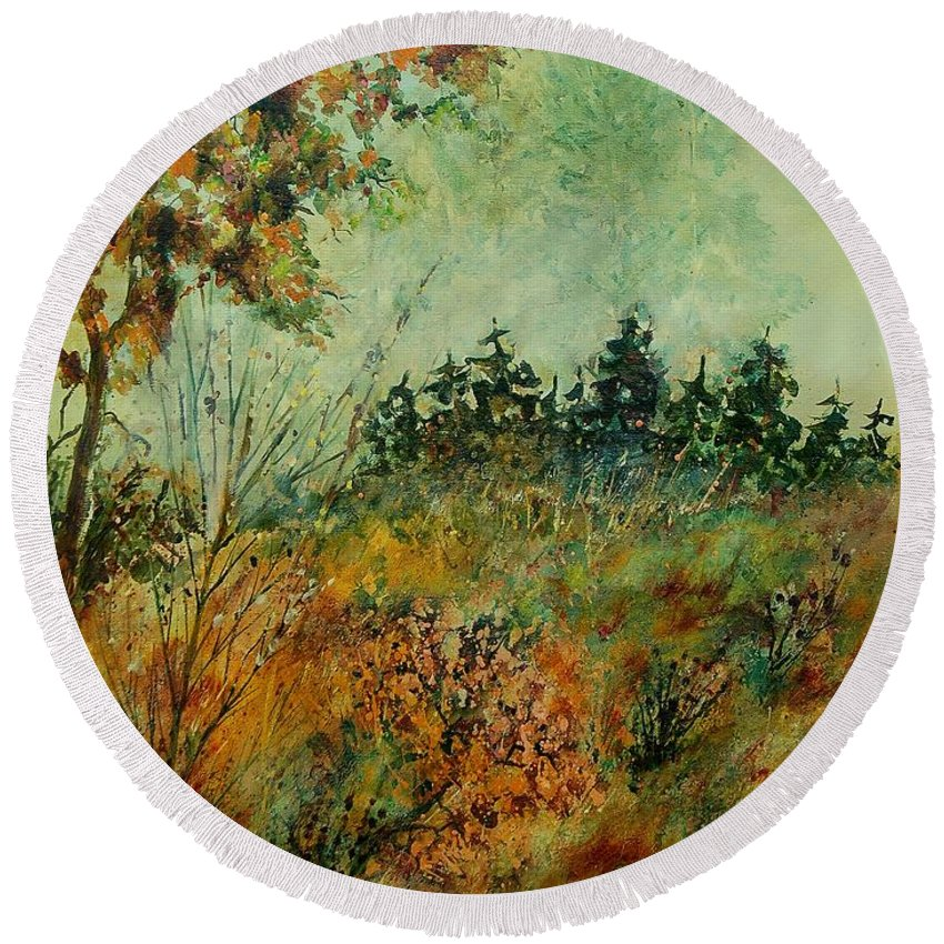 Tree Round Beach Towel featuring the painting Autumn Mist 68 by Pol Ledent
