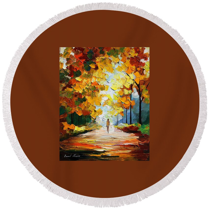 Landscape Round Beach Towel featuring the painting Autumn Mood by Leonid Afremov