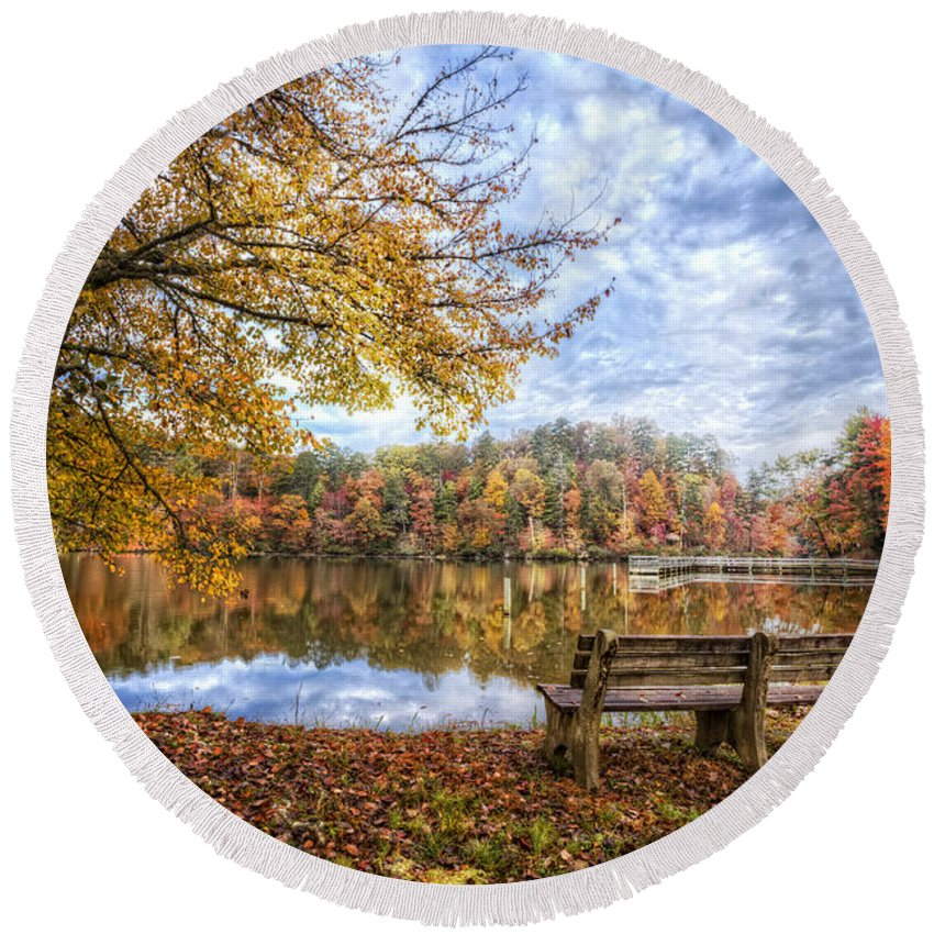 Appalachia Round Beach Towel featuring the photograph Autumn Morning by Debra and Dave Vanderlaan