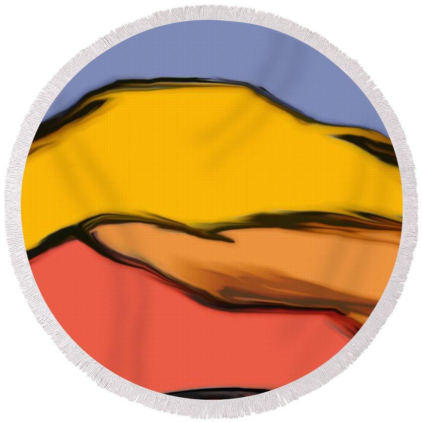 Digital Art Round Beach Towel featuring the digital art Autumn Mosaic by David Lane